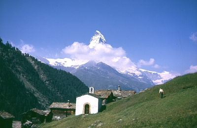 Matterhorn view from Findeln, July 1970